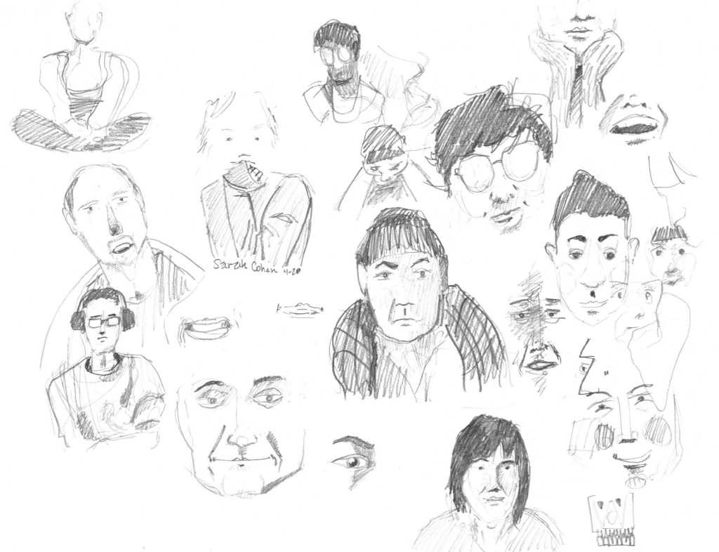 sketched faces from zoom calls during the time of covid19