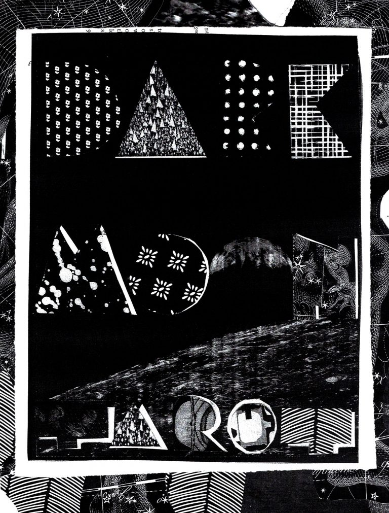 paper cut into the words dark moon tarot