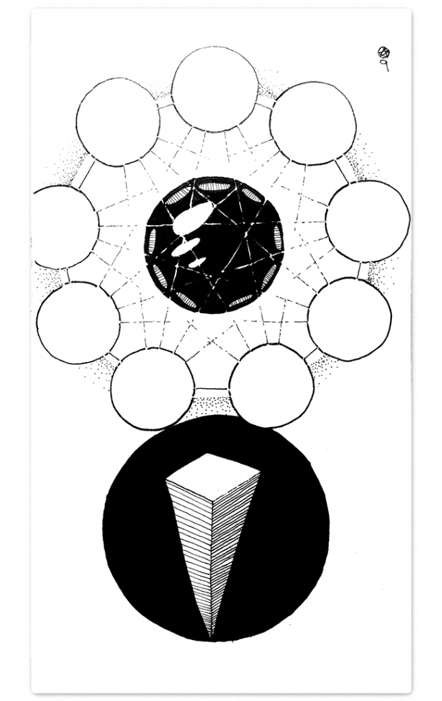 a mirrored black sphere rises above the inverted pyramid that is it's body. A body cast against a black circle. Around the sphere are nine disks of pure light, interconnected by dashed lines which form a latic of stars around the head.