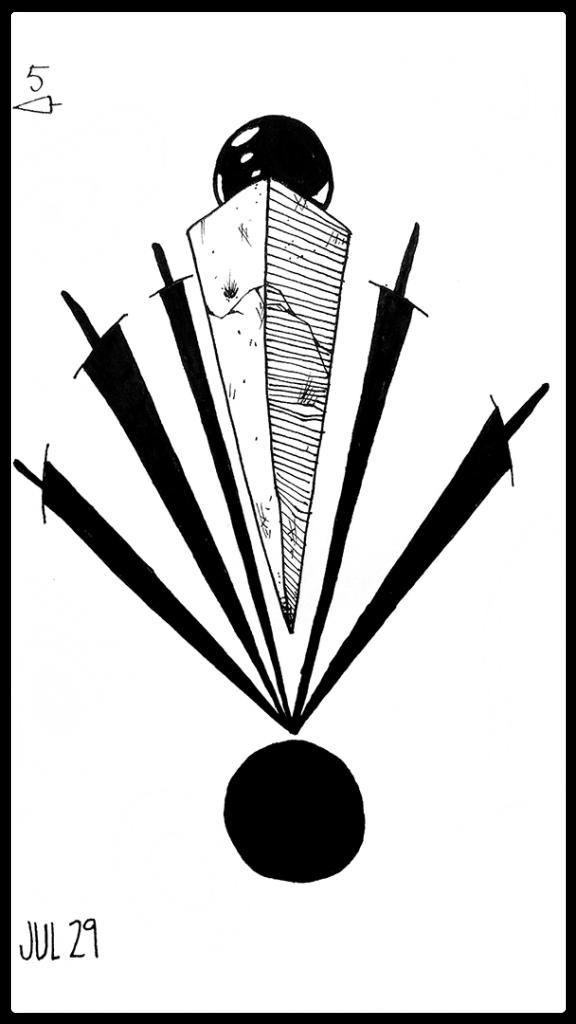 a pyramidal figure balances on a black, blacker than black, circle. Spread around them is five swords who's points balance along side them.
