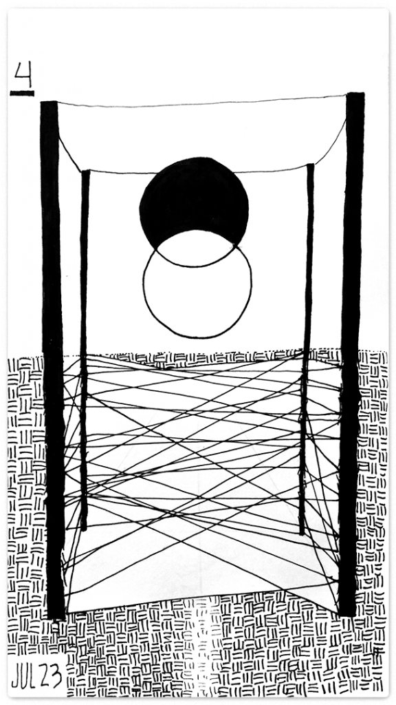 four up right wands create a canopied room. Above ground a union between a white and black circle. Below a web of lines stretch between the unseen legs.